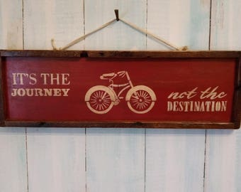 Handmade and Hand painted sign made from Reclaimed Wood in Rusty Red