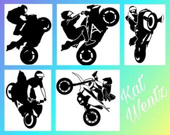 Supermoto Street Fighter Motorcycle Stunt Wheelie Sticker Decal