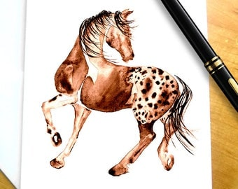 Horse greeting card etsy horse stationary horse note cards horse lover gift horse gift appaloosa horse negle Image collections