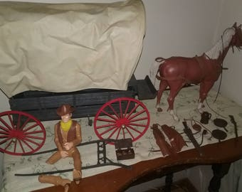 Vintage Marx Johnny West Covered Wagon and more