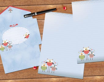 Funny owls - DOWNLOAD file - Printable Writing paper - A5 size - with envelope template
