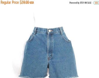90's Gitano Cutoff Jean Shorts Vintage Frayed Denim Shorts 1990's High Waist Size 14 Average Blue Jean Shorts Hipster Mom Jean Shorts