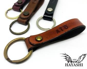Leather Keychain Personalized ,Monogram Keychain, Handmade Key Ring, Key Fob Engraved, Boyfriend Gift ,Wedding gift, Free Stamp Names