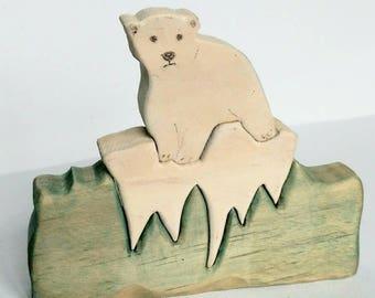 Reclaimed Wood Baby Polar Bear Puzzle Art Unusual Gift baby bear arctic