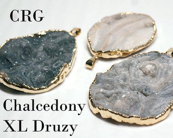 XL Round/Oval Gold or Silver Plated Chalcedony Druzy Pendant DR159