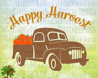 Antique Truck SVG, Happy Harvest SVG, Pumpkin Truck svg, Thanksgiving svg, Fall svg, Commercial Use SVG, Cut File, Clipart, dxf, eps, png