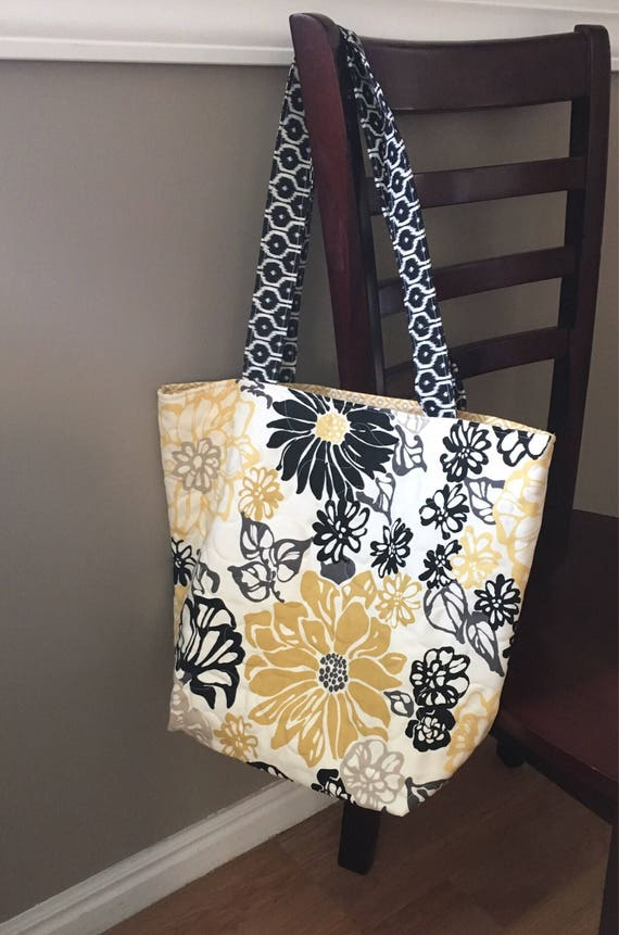 Floral quilted tote bag black and yellow floral bag school : quilted floral tote bags - Adamdwight.com