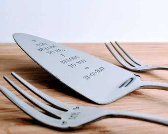 Personalised cake server/slice and 2 forks