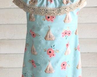 Boho baby dress- toddler dress- peasant dress- ruffle peasant dress- baby girl clothing- toddler girl clothing-baby girl