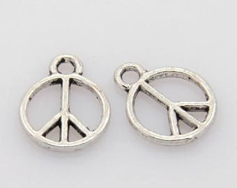 ON SALE Peace Sign Charm, Pendant,Antique Silver Finish (CH-As-25), 10 count