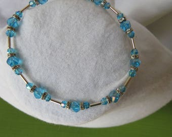 Blue and white crystal and silver bracelet