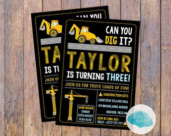 Personalised Digger/Tractor Themed Birthday Invitations with Envelopes