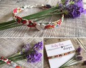 Liberty Print Red Floral Fabric Bracelet with Silver Heart