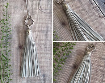 Long Silver Tassel Leather Necklace