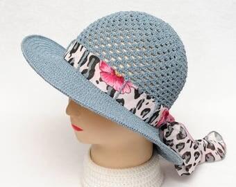 Crochet Hat Womens Gift|for|Her Blue Hat Womens Sun hat Wide Brim Hat Summer Accessories Womens Hats Beach Hat beach accessories Ladies Hat