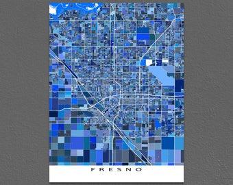 Fresno Map Print, Fresno California, USA City Wall Art