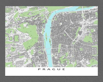 Prague Map, Prague Print, Czech Republic, City Art Praha Buildings