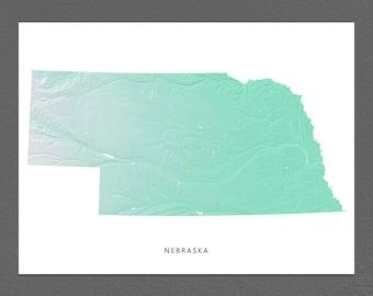 Nebraska Map Print, Nebraska State, Aqua, NE Landscape Art