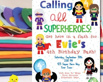 Superhero Invitation | Super Hero Birthday Party Invitation | Superhero Birthday Invitation | Girl | Female Superhero Party |DIGITAL FILE