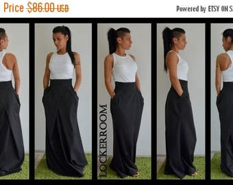 ON SALE High waist skirt for woman/Spring Long black skirt / Floor length skirt /Maxi black skirt