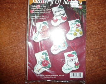 Bucilla Gallery Of Stitches Stocking Full Of Cheer Cross Stitch Ornaments Kit