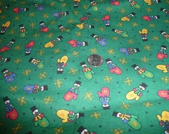 1 7/8 Yard Snowmen In Colorful Mittens Cotton Fabric Print
