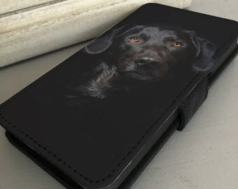 iPhone 6s, iPhone 7, Samsung Galaxy Leather Wallet Flip Case Cover - Black Labrador Dog