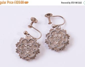 Go on, buy it now - Antique Victorian Aesthetic Movement Sterling Silver Drop Earrings
