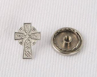 1980's Celtic Cross Tie Tack, Screw on Fastener, Near MINT Cond.,12mm X 9mm. Very Detailed for size.