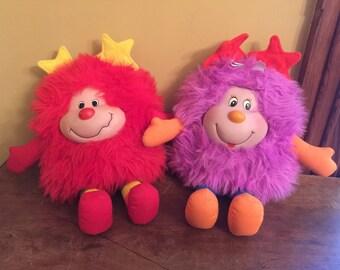 Hallmark Vintage Rainbow Brite Sprite and Purple Sprite Plush Dolls/Vintage Plush Sprite