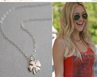 SUMMER17 4 Leaf Clover Necklace / Little Shamrock Good Luck Charm / Gold or SIlver Lucky Four Leaf Clover Pendant / Celebrity Inspired Jewel