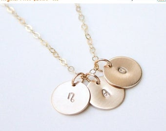 ON SALE Gold Initial Necklace / Personalized Disc Necklace / 14K Gold Initial Necklace / Kids Initial Necklace / Silver Disc Initial Necklac