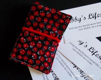 Lady Beetles credit card wallet. Handmade.