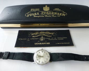 Excellent Vintage 14K White Gold Men's Jules Jurgensen 20 Diamonds Watch All Original With Case And Papaer (Watch Video)