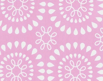 Michael Miller Emerson White Swirls and Sun Flowers on Pink from the Harper Collection - CX6963-PINK-D