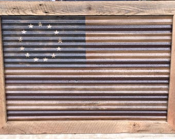 Corrugated Steel American Flags
