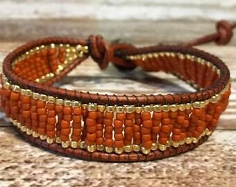 Orange Beaded Bracelet / Boho Bracelet / Leather Wrap Bracelet / Bead Loom Bracelet / Chan Luu Style / Seed Bead Bracelet