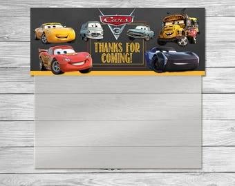Disney Cars 3 Treat Bag Topper Chalkboard - Cars 3 Ziptop Topper - Disney Cars Printable - Cars Party Favor - Cars Birthday - Cars New Movie