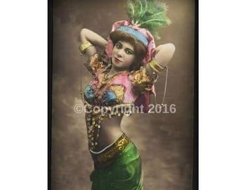 On Sale- Postcard Dancer Costume Printable Woman Art Photo  Altered Postcard Belly Dancer Photograph  Instant Download Ephemera Scrapbook