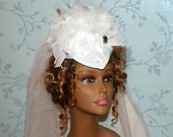 On Sale- White Fascinator Victorian Hat Bridal Headdress  Lolita Feather Steampunk Headpiece Old West  Marie Antoinette