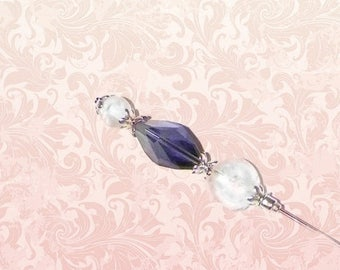 On Sale- Purple Hat Pin Victorian Edwardian White Vintage Style Glass Silver Antique 6 Inch Steampunk Stick Lapel Pin With Protector