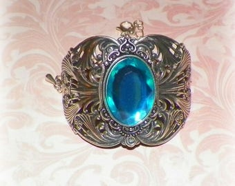 Silver Cuff Bracelet Blue Goth Wide Victorian Vintage Sterling Statement Style Steampunk Cosplay Costume Gothic Antique Style