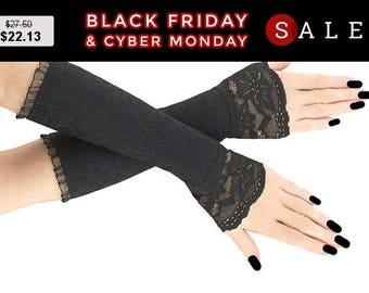 Black lace fingerless gloves, lace arm warmers gothic steampunk goth, wedding bridal gloves, womens evening gloves lolita vampire glove 9w