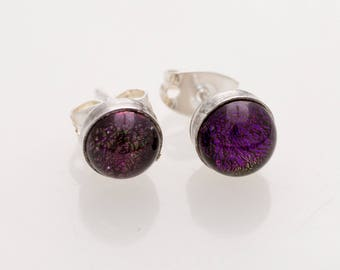 Purple Glass and Sterling Silver Stud Earrings