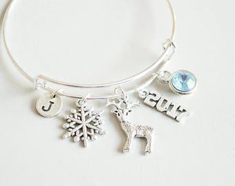 Snowflake Bracelet, Reindeer Bracelet, Christmas Bracelet, Snowflake Jewellery, Reindeer Gift, Christmas Jewellery, Winter Bracelet Gift