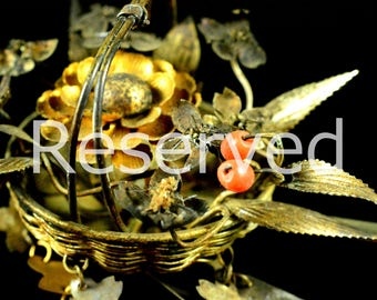 Reserved Reserved Reserved   Antique complicated coral birabira kanzashi - Japanese Antique complicated birabira kanzashi - Antique coral