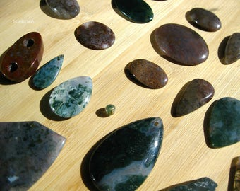 Deluxe Moss Agate Set (24 Cabochons and Beads) - Wire Wrapping | Metalwork | Beading Kit