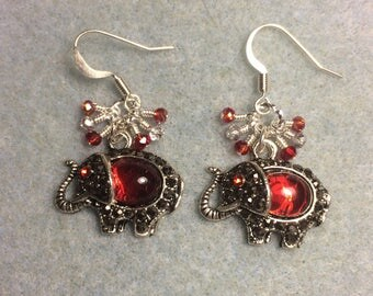 Fancy silver and red rhinestone elephant charm earrings adorned with tiny dangling red and silver Chinese crystal beads.