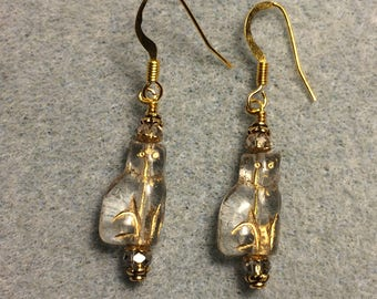 Small clear and gold Czech glass cat bead earrings adorned with clear Chinese crystal beads.