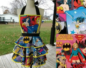 Wonder Woman Apron with Batgirl & Supergirl  Women's Apron  XS S M L XL 2XL 3XL 4XL 5XL